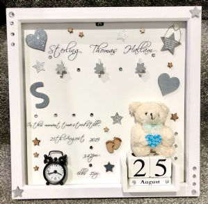 Personalised Gift Deep Box Frame No Glass Photo Frame Girl Boy New Baby Silver Keepsake